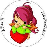 Button: Chou Erdbeere